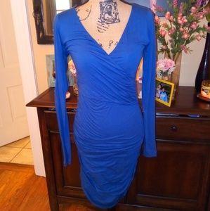 Velvet fitted blue dress